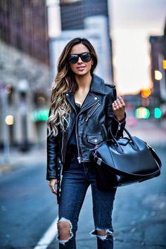 fashion blogger mia mia mine wearing a black leather jacket and givenchy antigona bag from nordstrom