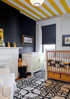 geo rug, striped ceiling