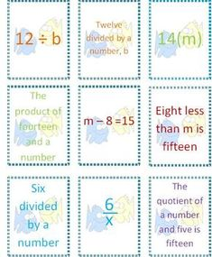 My students always have such a hard time writing expressions and equations during our Algebra unit.  I've created a card game to help with that!  T...
