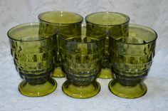 Avocado Green Glass Whitehall Cubist 8 Oz.Tumblers-5 by TwinsTreasureTrove on Etsy