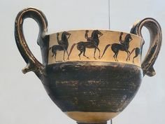 Terracotta kantharos (drinking cup with two high handles Boeotian 550 BCE