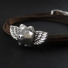 Silver Flying Pig Leather Bracelet