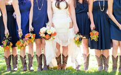 Love the colors. Was in a wedding this past September in Texas where we wore knee-length dresses and cowgirl boots. #boots, #wedding, #bride, #bridesmaids, #jewelry, #necklace, #bouquet