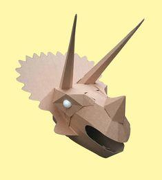 Dinosaurs - Welcome to Wild Card Creations, the home of fabulous cardboard dinosaur helmets Cardboard Costume, Cardboard Mask, Cardboard Sculpture, Dinosaur Halloween Costume, Halloween Costumes, Dino Craft, Dinosaur Mask, Craft Packaging, Paper Animals