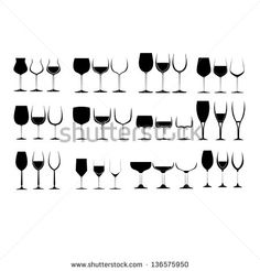 Wine Glass Silhouette Collection Image ID:136575950 :Copyright: xtremelife wine, glass, vector, icon, vine, red, short, cold, symbol, white, drink, graphic, bar, row, vodka, old, alcohol, black, traditional, small, illustration, bottle, collection, design, group, pub, set, liquor, elegance, background, silhouette, brandy, isolated, oz, beverage, cup, restaurant, shape, mug, modern, whiskey, champagne, long, juice, antique, martini, big, wineglass
