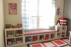 Ikea KALLAX Custom Cushion, Playroom Cushion , Nursery Bench Seat , Organization Bench Seat , Mudroom Cushion Ikea KALLAX Custom Cushion Playroom by HearthandHomeStore Cushions Ikea, Seat Cushions, Blue Cushions, Playroom Organization, Ikea Playroom, Organization Ideas, Playroom Bench, Kids Playroom Storage, Organizing Toys