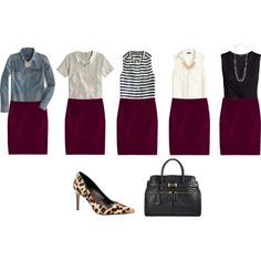 Wine colored pencil skirt outfit ideas by connie-nicole on Polyvore featuring polyvore, fashion, style, J.Crew, H&M, Forever 21, Stella & Dot and clothing