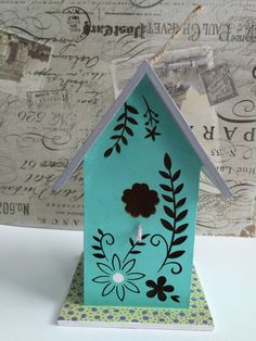 Hand Painted Bird House / Cottage Chic / Spring Decoration / Whimsical Gift / Die Cut Flowers / Acrylic Painting / Birds Item / Etsy Crafts by GlimmerbugArt on Etsy #birdhouse #birdhouses #glimmerbug #etsy