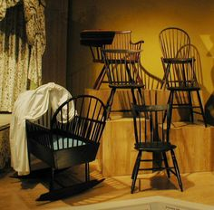 Windsor chairs and cradle