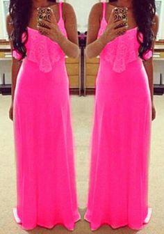 Rose-Carmine Patchwork Lace Condole Belt Maxi Dress