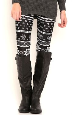 Deb Shops Fair Isle Print Leggings $8.00