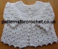 Free Baby crochet pattern, pretty matinee coat e-book from http://www.patternsforcrochet.co.uk/free-baby-crochet-pattern-e-book.html