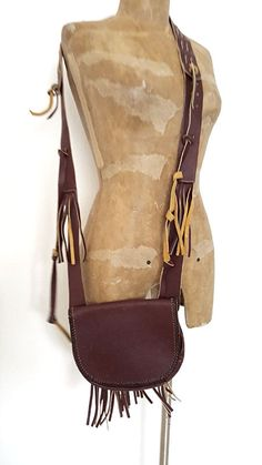 Fringe Leather Crossbody Bag Purse Dark Brown BOHO Hippie Handbag #Unknown #ShoulderBag