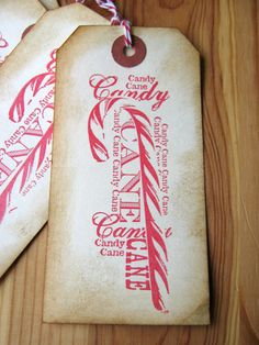 Candy Cane Christmas Gift Tag by CharonelDesigns on Etsy, $4.95