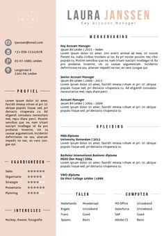 Opvallend CV sjabloon in Word, inclusief volgpagina, 2 kleurenversies in 1. http://deleydsche.nl/product/cv-sjabloon-25b