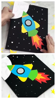 Simple & Fun Rocket Craft For Kids Simple & Fun Rocket Craft For Kids Crafts For Kids Rocket Craft F Fun Activities For Kids, Easy Crafts For Kids, Toddler Crafts, Craft Activities, Preschool Crafts, Projects For Kids, Art For Kids, Art Projects, Kids Fun