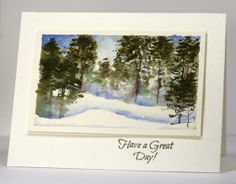 Winter forest watercolour card by Heather Telford