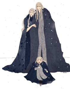 "Thranduil, his wife, and little Legolas from ""The Hobbit"" - Art by dollyribbon.tumblr.com"