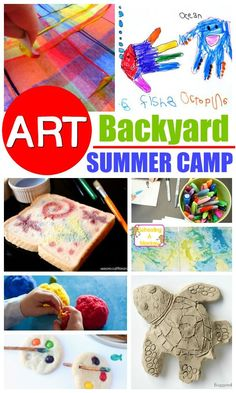 At-Home Summer Camp: Creative DIY Art Summer Camp Don't waste money on expensive summer camps, make your own DIY summer camp at home! This fun theme offers a week of DIY art summer camp ideas for kids. Summer Camp Art, Summer Camp Themes, Summer Activities For Kids, Summer Kids, Craft Activities, Diy For Kids, Crafts For Kids, Art Camp, Camping Activities