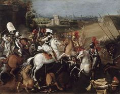 The battle of Ivry (1590) was a decisive victory by the future Henri IV. His cavalry, not as heavily armored as the gendarmes of Francois I, fired their pistols and then charged forward with their swords and carried the day. The cavalry charge, restricted by pikemen and arquebusiers, was making a comeback.