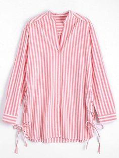 Zaful - Zaful Striped Side Lace Up Longline Shirt - AdoreWe.com