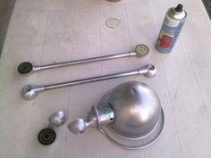 Renovation lampe jielde par verobrico : decapage mecanique + peinture + rajout de pied en diamant industriel