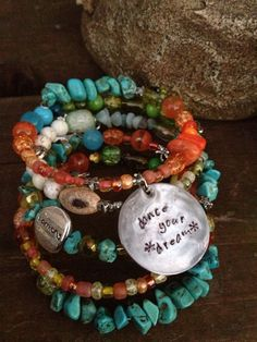 Dance Your Dream: Five Wrap Memory Wire Bracelet with Metal Stamped Pendant. $40.00, via Etsy.
