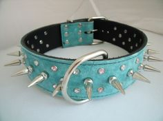 Aqua Suede w/pink/clear crystals and tall spikes Dog Collar on Etsy, $69.99-OMG , LEXI...