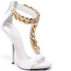 Splurge: Kim Kardashian's LAX Giuseppe Zanotti White T-Strap Chain Sandals