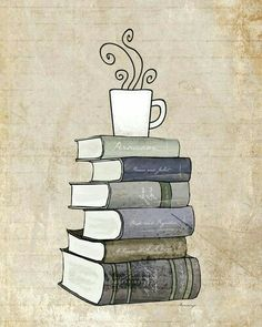 I Love Books and Coffee Print, Kitchen Art Illustration, Books and Reading Book Art, Tea Cafe Art Drawing, Book Lover Art Print Stack Of Books, I Love Books, Good Books, Books To Read, Reading Books, Cafe Art, Book Drawing, Drawing Style, Coffee And Books