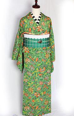個性的!緑に映える伸びやかな植物!袷着物 - ポップでガーリーな普段着物・ヘッドドレス・古道具・雑貨・アンティークやアーティスト作品の販売 『chiwachiwa ちわちわ』