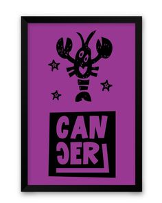 Cancer Purple | Zodiac Sign Gifts Framed Poster