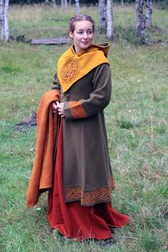 """Viking ensemble with an excellent hood and caftan. Swedish."""