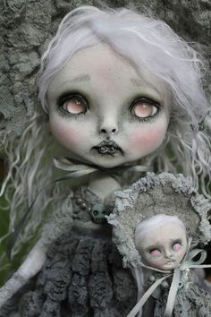 OOAK art doll horror fantasy vampire monster girl Lil' Poe by A. Gibbons 11.5''