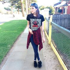"Kaicee on Instagram: ""Top & leggings from @supre_instagram  #me#ootd#flannelshirt#defleppard#bandtee#bandshirt#leggings#creepers#bluehair#purplehair#pastelhair#tattoochoker#tattoo#ink#90s#grunge#gothic#pastelgoth#edgy#alternative#style#fashion#fashionblogger#nutkaic"""