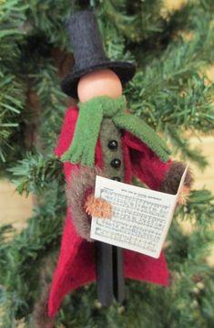 Christmas Caroler Gentleman Ornament Handmade by ModerationCorner