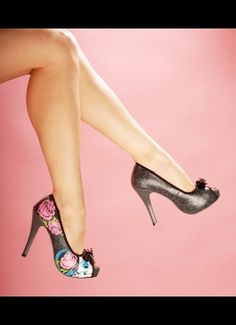 Sugar Witch Peep Toe Platform in Charcoal