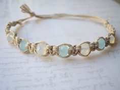 Aqua Crystal Faceted Hemp Bracelet