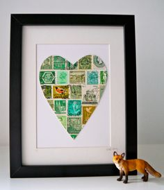 NEW Framed Postage Stamp Heart in Green. Add Your Own Text.