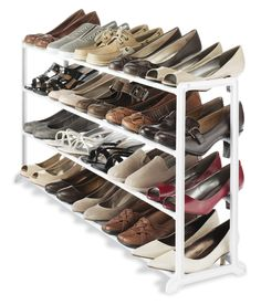 Whitmor White Resin 20 Pair Shoe Rack Fits 20 pair shoes Durable white resin frame Fits under most hanging clothes No-tool assembly For home, office or dorm room Shoe Rack Organization, Diy Shoe Storage, Closet Storage, Storage Ideas, Storage Rack, Organizing Shoes, Rack Shelf, Shoe Closet, Diy Shoe Organizer