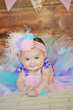 Pastels Vintage Light Pink, Blue and Lavender Girl Headband: Buy Baby Headbands & Hair Bows at Princess Bowtique