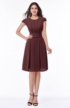 Modest A-line Short Sleeve Chiffon Knee Length Sash Plus Size Bridesmaid Dresses