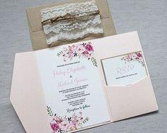 Boho Floral Wedding Invitation. Rustic Wedding by LoveofCreating