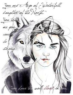 Game of Thrones: Arya Stark Nymeria Art Print Game of Game Of Thrones Arya, Game Of Thrones Poster, Winter Is Here, Winter Is Coming, Narnia, Stark Children, Power Rangers, Wallpaper Wall, Custom Chuck Taylors