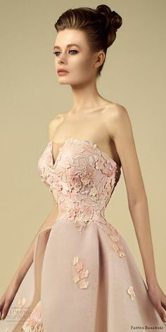 fadwa baalbaki spring 2017 couture strapless a line high low pink gown (6) zfv train -- Fadwa Baalbaki Spring 2017 Couture Dresses #wedding #bridal #weddingdress #romantic #blush #pink #couture
