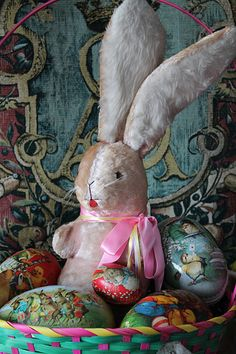 Vintage Easter Bunny & Eggs