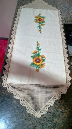 Home Decor, Crochet Table Runner, Painting On Fabric, Cross Stitch Embroidery, Paths, Towels, Dots, Decoration Home, Room Decor