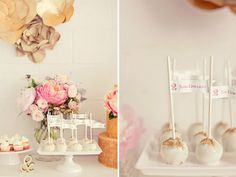 Love it! I'm totally into Cake Pops (as well as other baking) right now and I love the little signs that they added.   I think I will do something like this to label the flavor of the Cake Pops.  Inspiración mesa postres