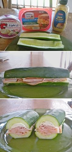 New take on cucumber sandwiches! Scoop out the guts and fill with your favorite sandwich ingredients. A low carb alternative to bread. I Love Food, Good Food, Yummy Food, Low Carb Recipes, Cooking Recipes, Healthy Recipes, Easy Recipes, Drink Recipes, Cooking Tips
