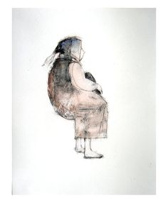 Woman Sitting illustration art print figurative by marina826